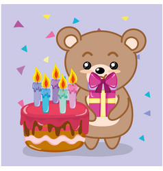 happy birthday bear vector image