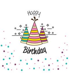 Happy birthday hats party decoration vector