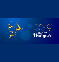 happy new year 2019 gold deer ornament decoration vector image
