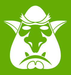 Head of troll icon green vector
