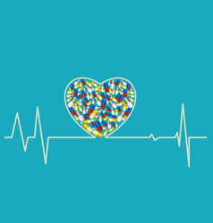 health concept - heart pills vector image