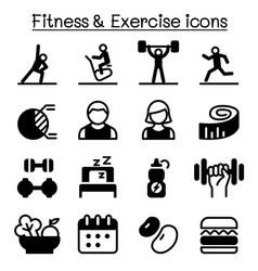 healthy fitness exercise icons set vector image
