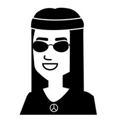 hippie man head with long hair vector image