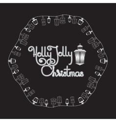Holly jolly christmas card lanterns and vector