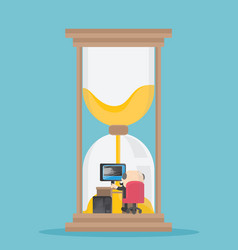 hourglass with businessman inside vector image