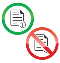 Information document permission signs set vector