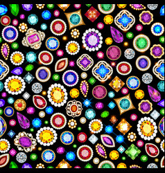 jewelry seamless background with bright gems vector image