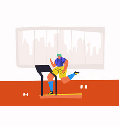 jogging on treadmill flat hand drawn vector image