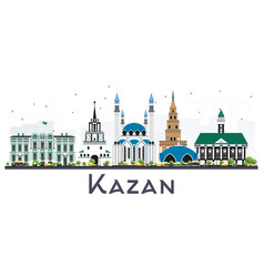 Kazan russia city skyline with color buildings vector