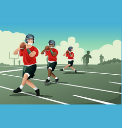 kids in american football practice vector image