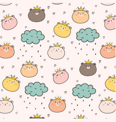 King bear pattern background for kids vector