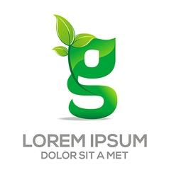 letter g design element eco leaves vector image