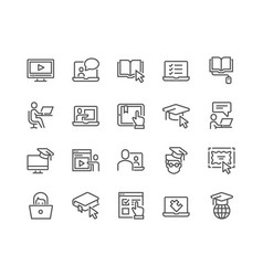 Line online education icons vector