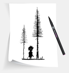 Little boy in forest at night vector