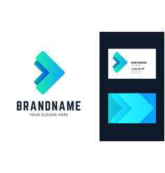 Logo and business card template with two arrows vector
