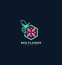 logo bee with flower line art style vector image