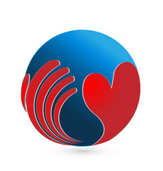 Loving heart with global world logo vector