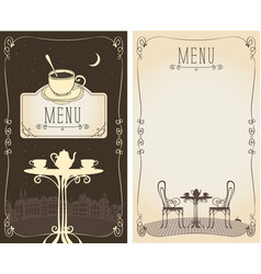 Menu with served table cityscape moon and cat vector