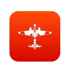 Military fighter aircraft icon digital red vector