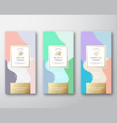 mint vanilla and anise chocolate labels set vector image