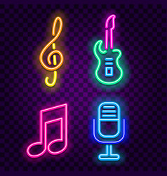 music neon signs on dark background vector image