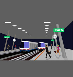 Night location of the sky train station thailand vector