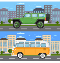 Off road car and retro bus in urban landscape vector