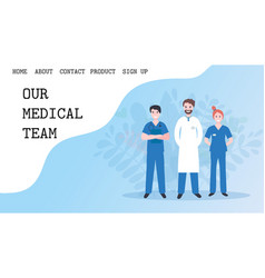 online doctor landing page template for web or vector image