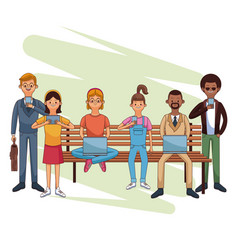 people connecting cartoons vector image