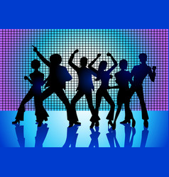 people disco dancing vector image