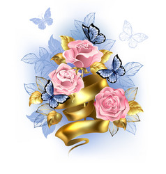pink roses with gold ribbon vector image