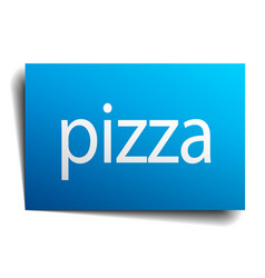 Pizza blue paper sign on white background vector