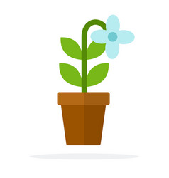 pot blossom blue flower flat isolated vector image