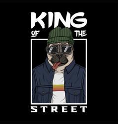 pug dog king street vector image