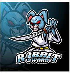 Rabbit sword esport logo mascot design vector