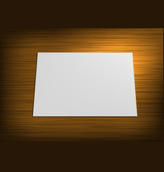 realistic white paper on wood table top view vector image