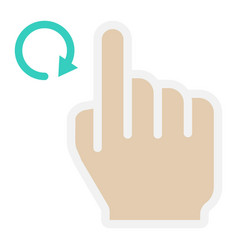 Rotate right flat icon touch and hand gestures vector
