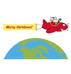 Santa flying plane cartoon vector image