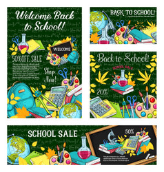 school sale special offer poster of student items vector image