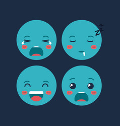 set emoticons kawaii characters vector image