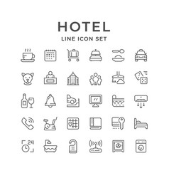 Set line icons of hotel vector