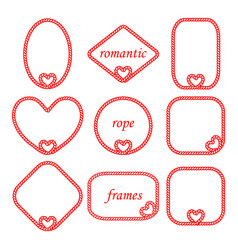 Set of romantic frames of rope with heart vector