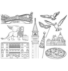 set of venice sketch vector image