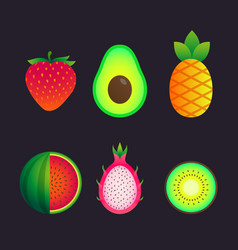 set with summer fruits vector image