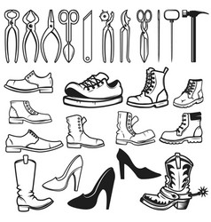 shoe repair design elements tools for shoe repair vector image