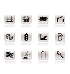 Simple road navigation and travel icons vector