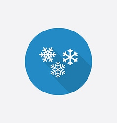 snowflakes Flat Blue Simple Icon with long shadow vector image