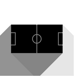 soccer field black icon with two flat vector image