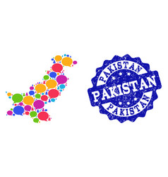 Social network map of pakistan with speech bubbles vector