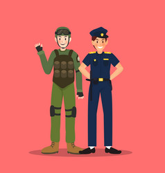 soldier and police in different character on red vector image